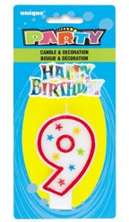 NUMERAL 9 GLITTER CANDLE WITH CAKE DECOR (Pack of 6)