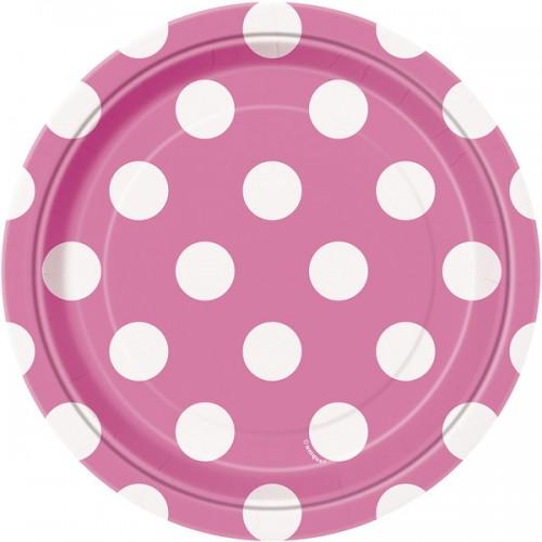 Hot Pink. Dots 7'' Plates  8 CT.