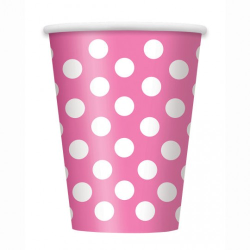 Hot Pink. Dots 12 OZ. Cups 6 CT.