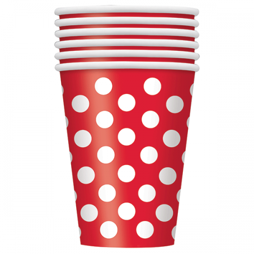 Ruby Red. Dots 12 OZ Cups 6CT