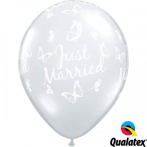 """Just Married Butterflies-A-Round 11"""" Diamond Clear (50CT)"""