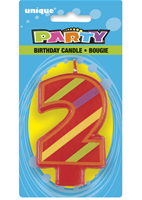 2 Decorative Birthday Numeral Candle (Printed One Side) Pack of 6