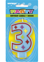 3 Decorative Birthday Numeral Candle (Printed One Side) Pack of 6