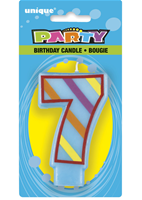 7 Decorative Birthday Numeral Candle (Printed One Side) Pack of 6