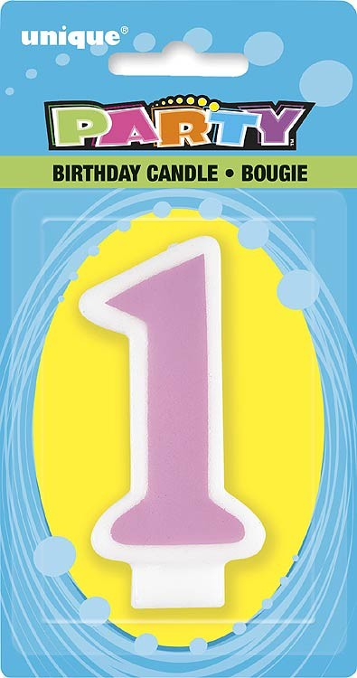 Number 1 Birthday Candle Pink - Pack of 6