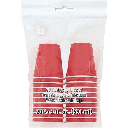 Red Plastic Shot Glasses 2oz 20ct
