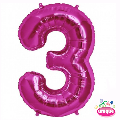 "34"" Pink Number 3 foil balloon"