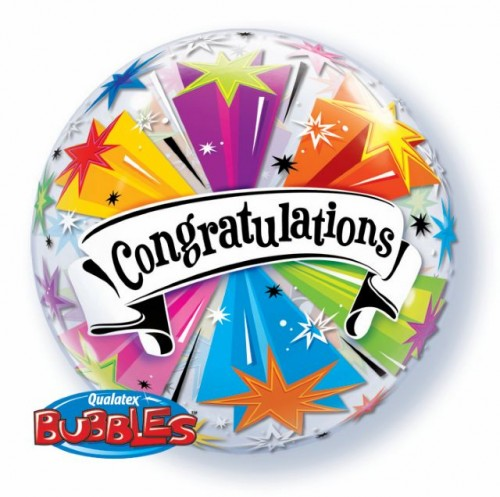 "Congratulations Banner Blast 22"" Bubble"