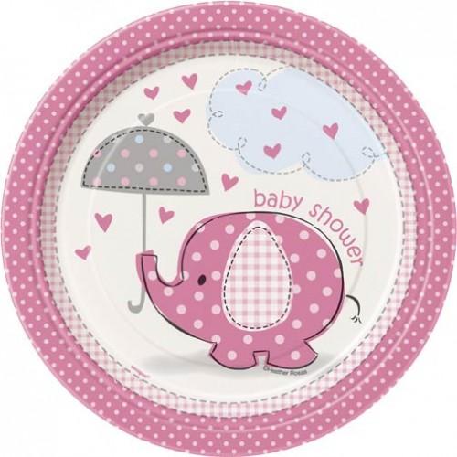 "7"" Plates - Umbrellaphants Pink - Baby Shower 8CT."