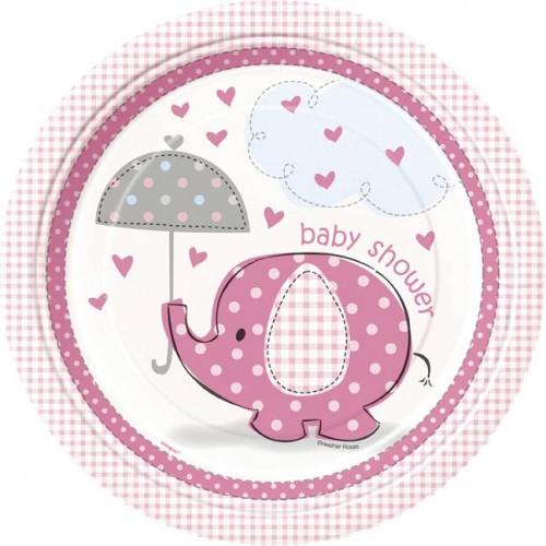 "9"" Plates - Umbrellaphants Pink - Baby Shower 8CT."