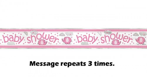 Foil Banner 12ft. - Umbrellaphants Pink - Baby Shower