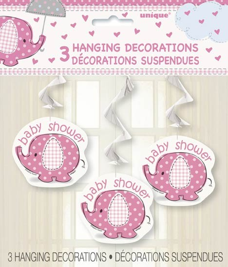 "Hanging Swirl Decorations 26""L. - Umbrellaphants Pink - Baby Shower 3CT."
