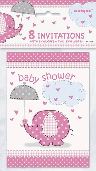 Invitations - Umbrellaphants Pink - Baby Shower 8CT.