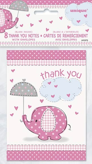 Thank You Notes - Umbrellaphants Pink - Baby Shower 8CT.