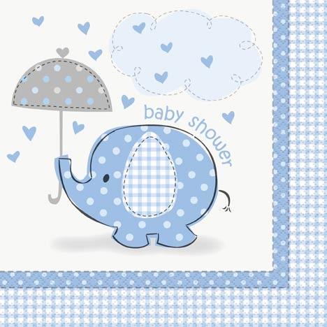 Luncheon Napkins - Umbrellaphants Blue - Baby Shower 16CT.