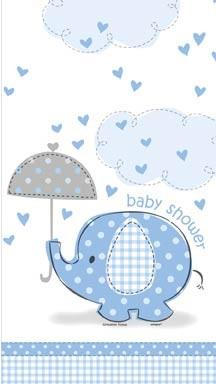 "Plastic Tablecover 54"" x 84"" - Umbrellaphants Blue - Baby Shower 16CT."