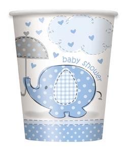 9oz. Cups - Umbrellaphants Blue - Baby Shower 8CT.
