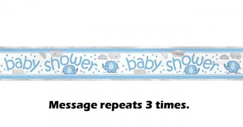 Foil Banner 12ft. - Umbrellaphants Blue - Baby Shower