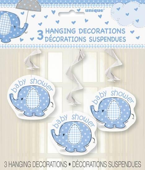 "Hanging Swirl Decorations 26""L. - Umbrellaphants Blue - Baby Shower 3CT."