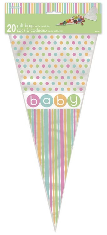 Cone Cello Bags - Pastel - Baby Shower 20CT.