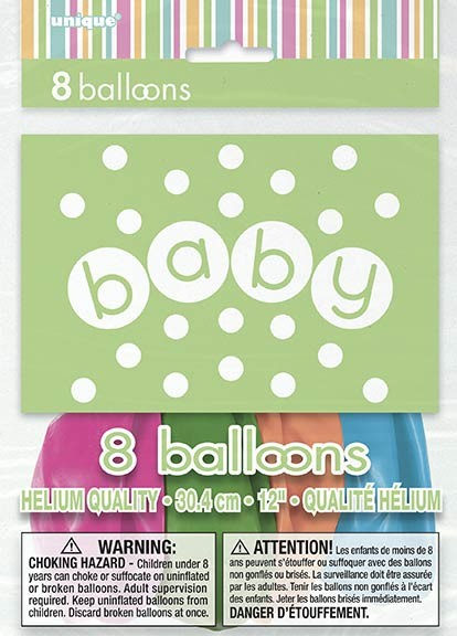"""12"""" Balloons Printed 1 Side  - Pastel - Baby Shower 8CT."""
