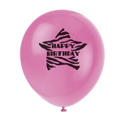 Zebra Passion 12'' Birthday Balloons Printed One Side 8CT.