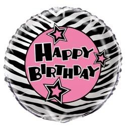 Zebra Passion 18'' Foil Balloon - Happy Birthday