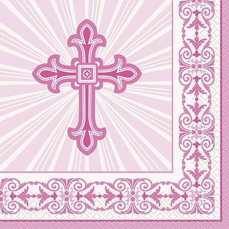 Pink Radiant Cross Luncheon Napkins 16ct