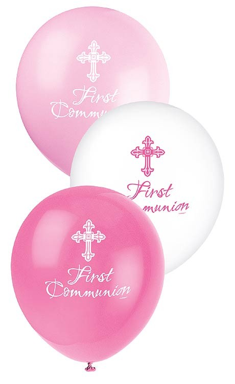 "12"" Latex Balloon Communion Pink 8CT. - Radiant Cross"