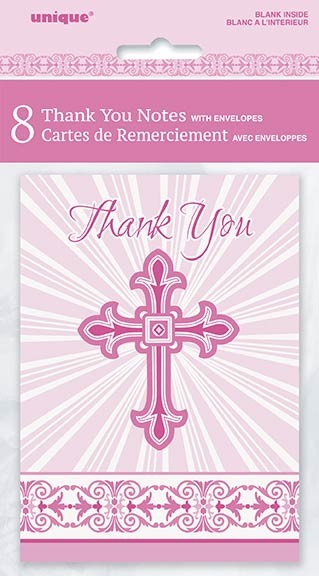 Pink Radiant Cross Thank You Notes 8ct