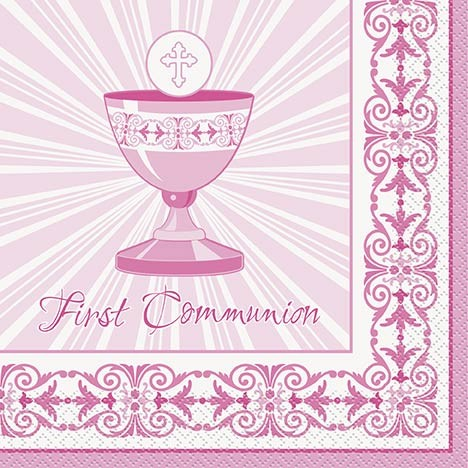 Communion Pink Radiant Cross Luncheon Napkins 16ct