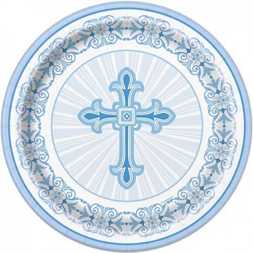 "Blue Radiant Cross 7"" Plates 8ct"