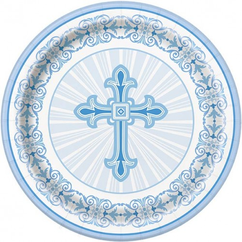 "Blue Radiant Cross 9"" Plates 8ct"