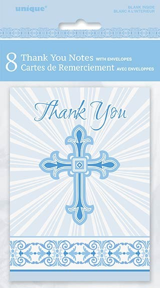 Blue Radiant Cross Thank You Notes 8ct