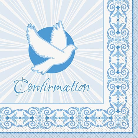 Confirmation Blue Radiant Cross Luncheon Napkins
