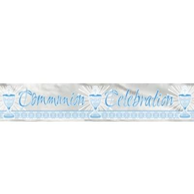 Communion Blue Foil Banner 12ft. - Radiant Cross