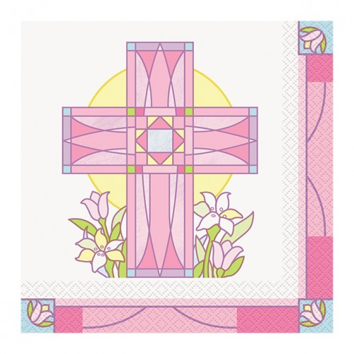 Sacred Cross Pink Luncheon Napkins