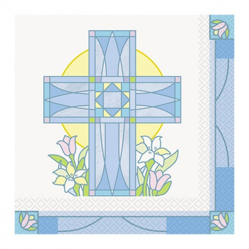 Sacred Cross Blue Luncheon Napkins