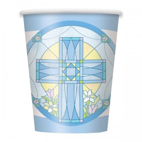 Sacred Cross Blue 9oz Cups
