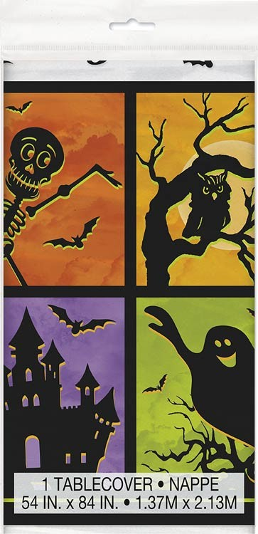 """Plastic Tablecover 54"""" X 84"""" - Halloween Haunted House"""