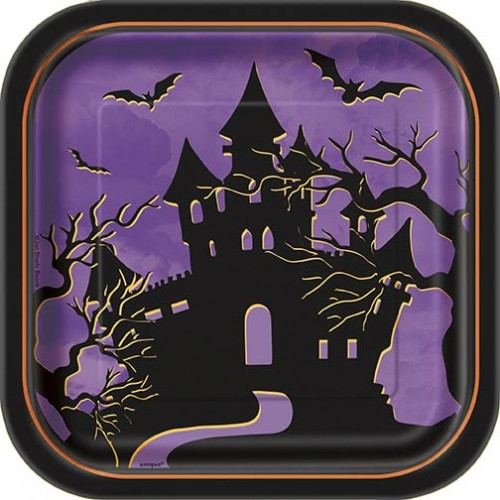 "7"" Square Plates - Halloween Haunted House 10CT."