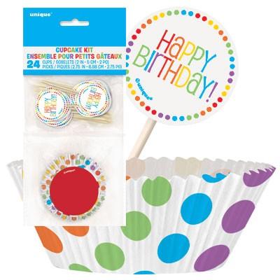Rainbow Birthday Cupcake Kits for 24
