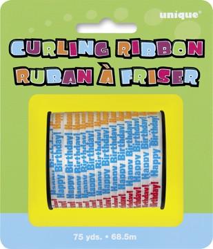 Happy Birthday Printed Curling Ribbon - 75yds