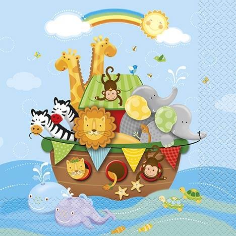Luncheon Napkins - Noah's Ark - Baby Shower 16 Ct. 12 Pk