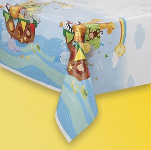 "Plastic Tablecover 54"" X 84"" - Noah's Ark - Baby Shower 1 Ct. 12 Pk"