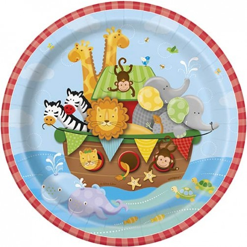 "7"" Plates - Noah's Ark - Baby Shower 8 Ct. 12 Pk"