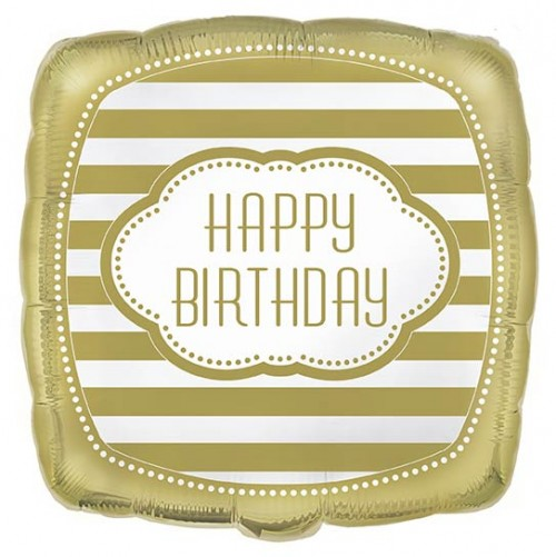 """18"""" Foil Square Balloon Packaged - Golden Birthday"""