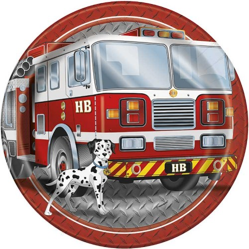 """9"""" Plates - Fire Truck - 8ct."""