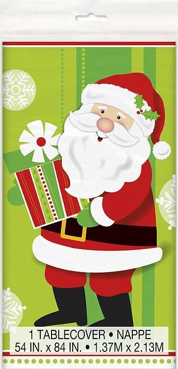 "Plastic Tablecover 54"" X 84"" - Happy Santa 12 Pk"