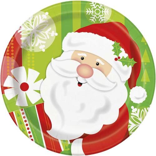 "7"" Plates - Happy Santa 8CT."
